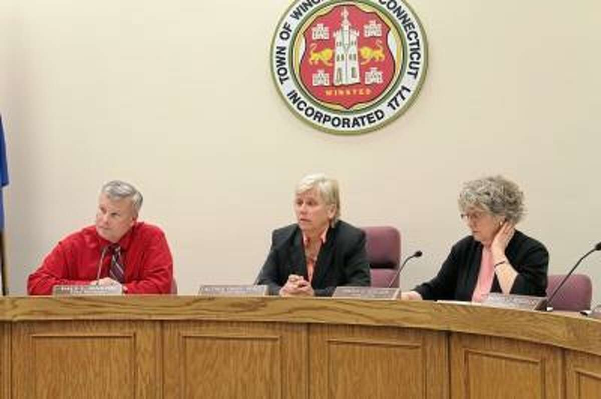 Members of Winsted Board of Selectmen and Town Manager Dale Martin, left. FILE PHOTO.