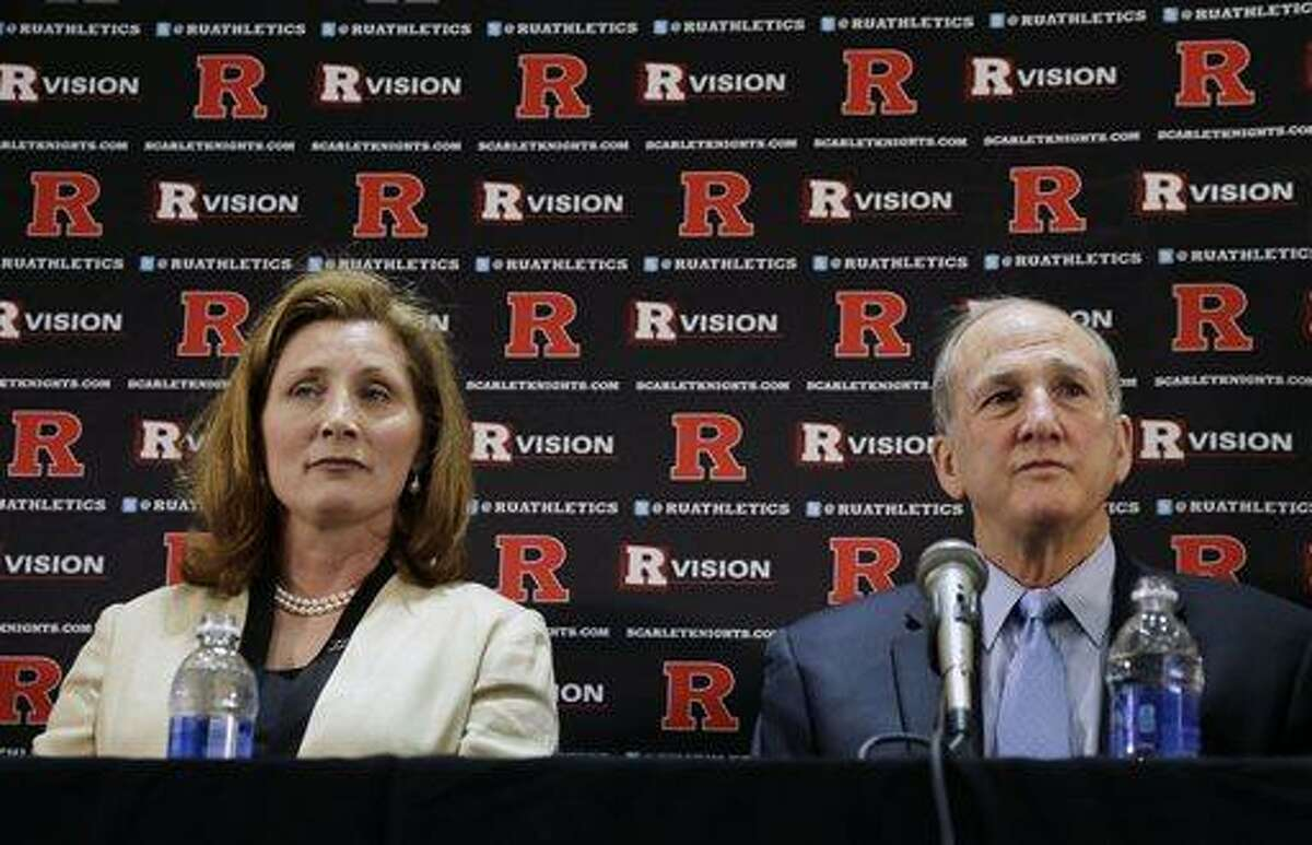Julie Hermann, left, sits with Rutgers president Roberet L. Barchi, as they listen to a question during a news conference where she was introduced as the new athletic director at Rutgers University on Wednesday, May 15, 2013, in Piscataway, N.J. Hermann was a senior associate athletic director and senior woman administrator at the University of Louisville. Rutgers has been looking for a new AD since Tim Pernetti resigned on April 5, part of the fallout from the Mike Rice scandal. (AP Photo/Mel Evans)