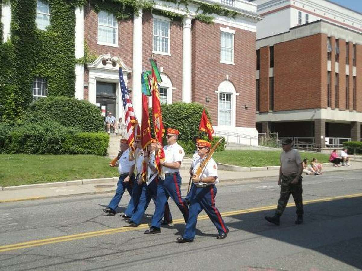These Marines led the Brass City Young Marines in the Torrington Memorial Day parade. FILE PHOTO.