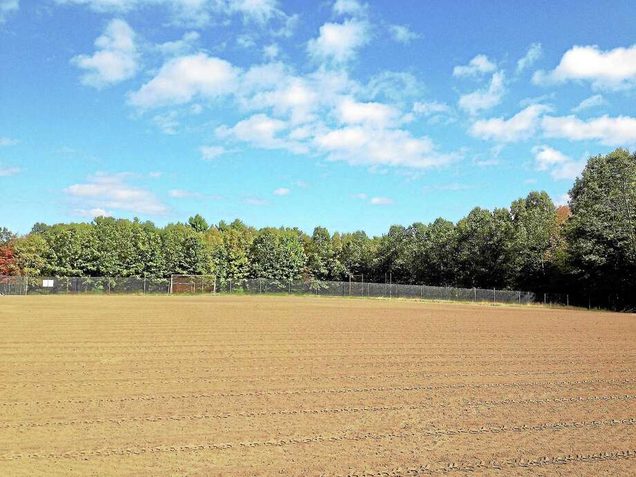 The new sports field behind the Ann Antolini School in New Hartford has been leveled and is ready for seed. Photo: Kate Hartman—Register Citizen