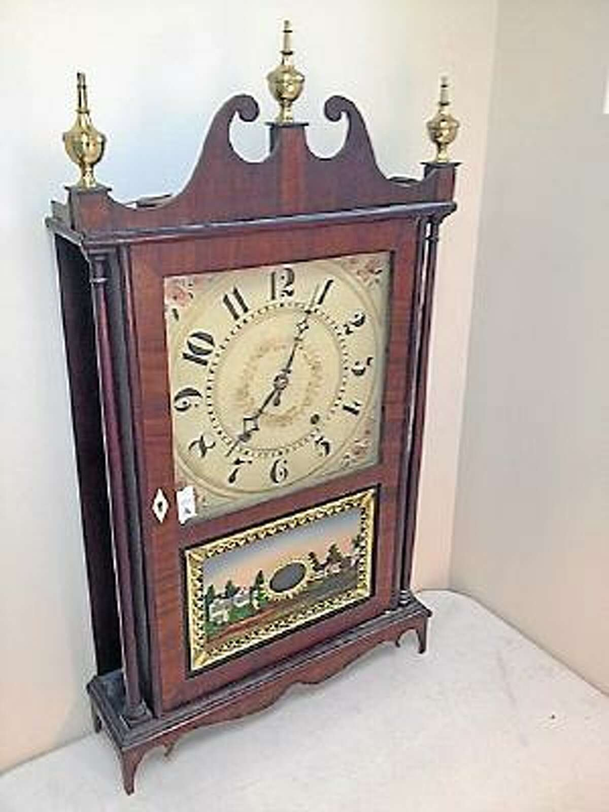 Photo courtesy of Tim's Inc. Antiques such as this clock will be featured at this weekend's auction to benefit the Harwinton Congregational Church.