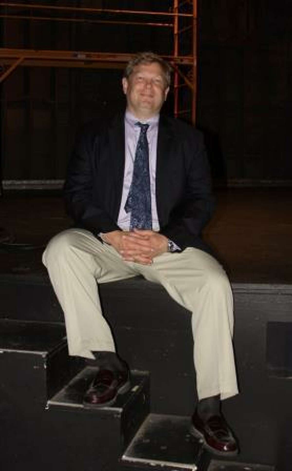 Mark Devey who is taking roles and risks in 'Spamalot.'