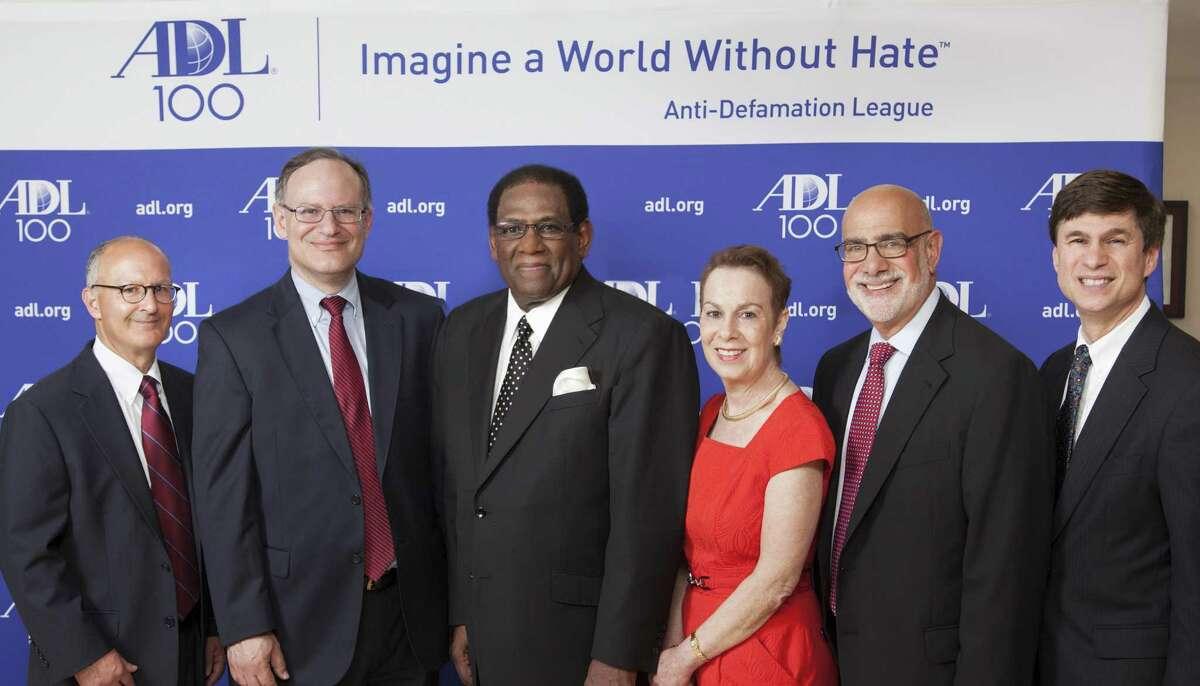 From left, Alan Schwartz of Wiggin and Dana; Jeffrey Babbin of Wiggin and Dana; Superintendent of New Haven Schools Reginald Mayo; New Haven Mayor John DeStefano; Beverly Levy; Dr. John Levy; and ADL Connecticut Regional Director Gary Jones.
