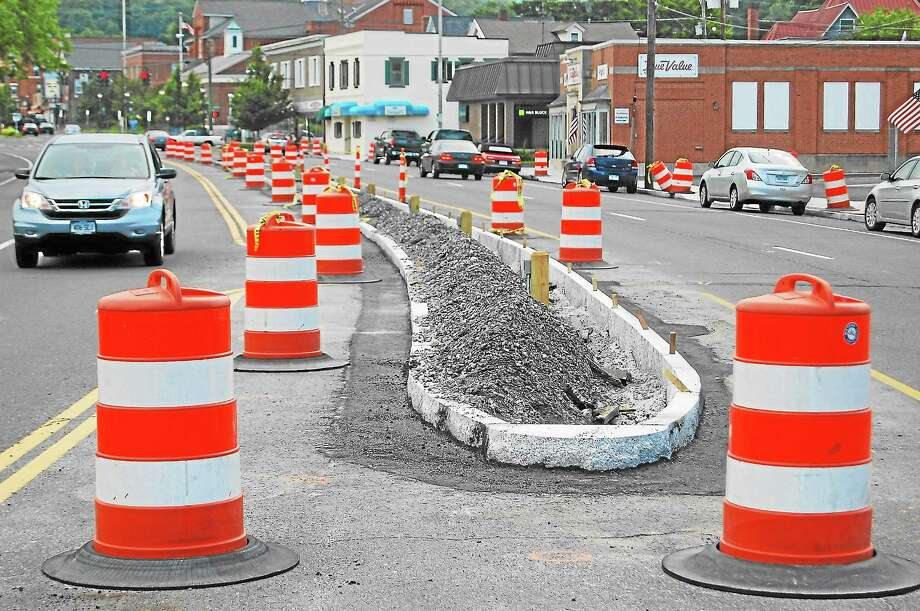 The phase two installation of medians is under way on Main Street in Winsted. Photo: Register Citizen File Photo