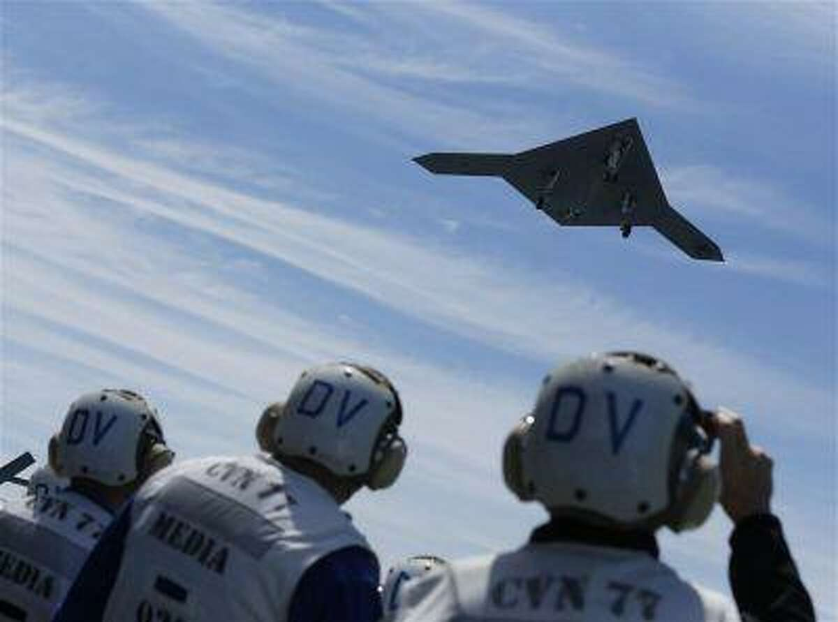 An X-47B pilot-less drone combat aircraft is launched for the first time off an aircraft carrier, the USS George H. W. Bush, in the Atlantic Ocean off the coast of Virginia. (Jason Reed/Reuters)