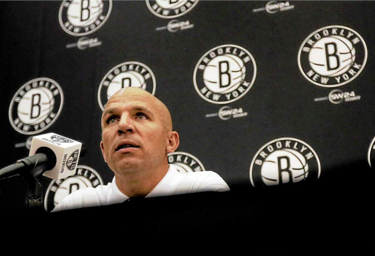 Nets head coach Jason Kidd listens to a question during a media availability at the team's training facility Tuesday in East Rutherford, N.J.