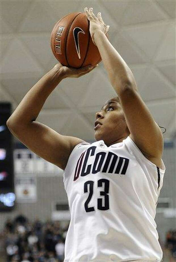 Connecticut's Kaleena Mosqueda-Lewis shoots during the second half of an NCAA college basketball game against Duke in Storrs, Conn., Monday, Jan. 21, 2013. Mosqueda-Lewis was top scorer for Connecticut with 21 points. Connecticut won 79-49. (AP Photo/Jessica Hill) Photo: ASSOCIATED PRESS / A2013
