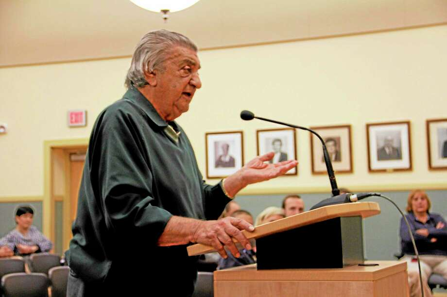 Torrington resident Mickey Bonasera speaks against the sale of beer at Fuessenich Park during a public hearing to consider changing a city ordinance on Monday, Sept. 23. The City Council voted in favor of changing the ordinance 5-1 later in the evening. Photo: Esteban L. Hernandez—Register Citizen