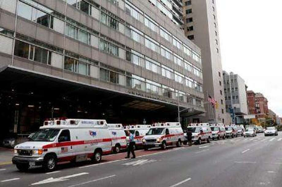 Ambulances gather outside of NYU Langone Medical Center. (Getty Images)