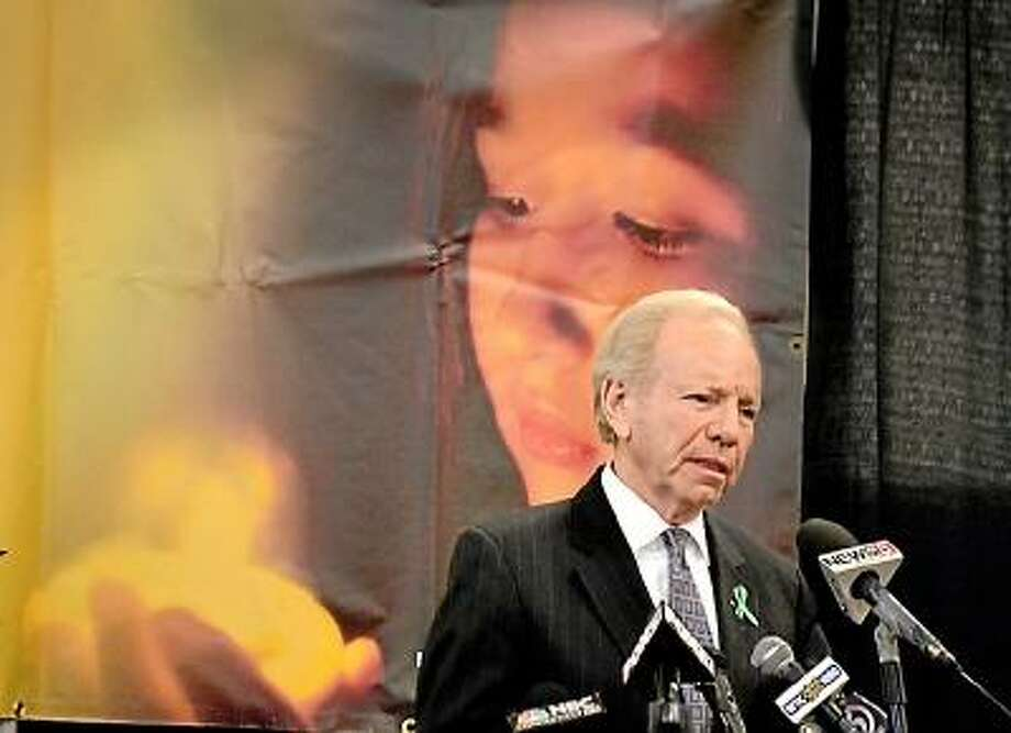 Melanie Stengel/Register Sen. Joseph Lieberman speaks to the press at Edmond Town Hall.  Lieberman will serve as an advisor to the transistion team creating the charitable structure into which donations from the Sandy Hook Support Fund will be transferred. Lieberman called the Newtown shootings the worst tradgedy that he has seen during his life in Connecticut.