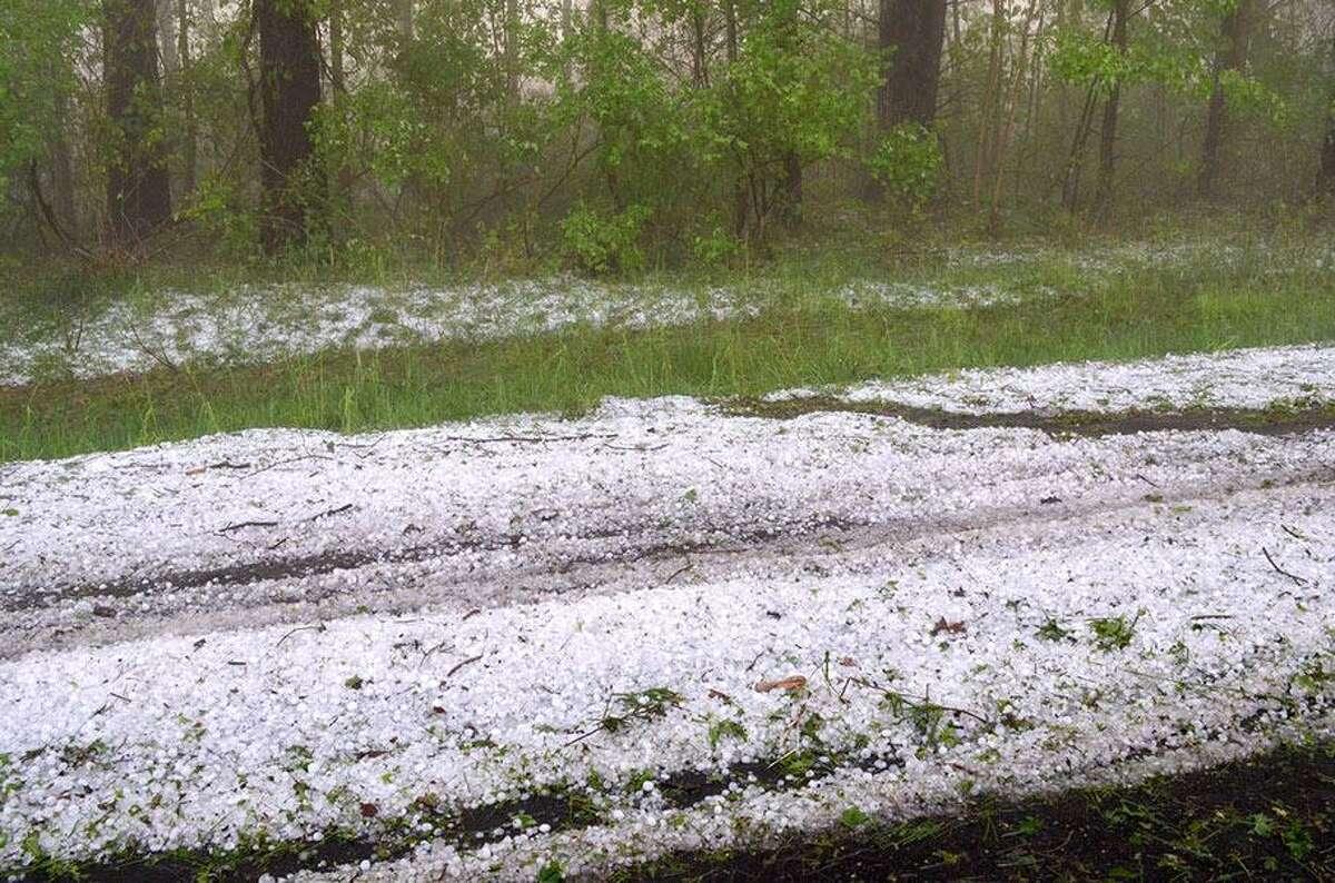 Hail made driving dangerous after Tuesday's storm. JOHN BERRY/REGISTER CITIZEN.