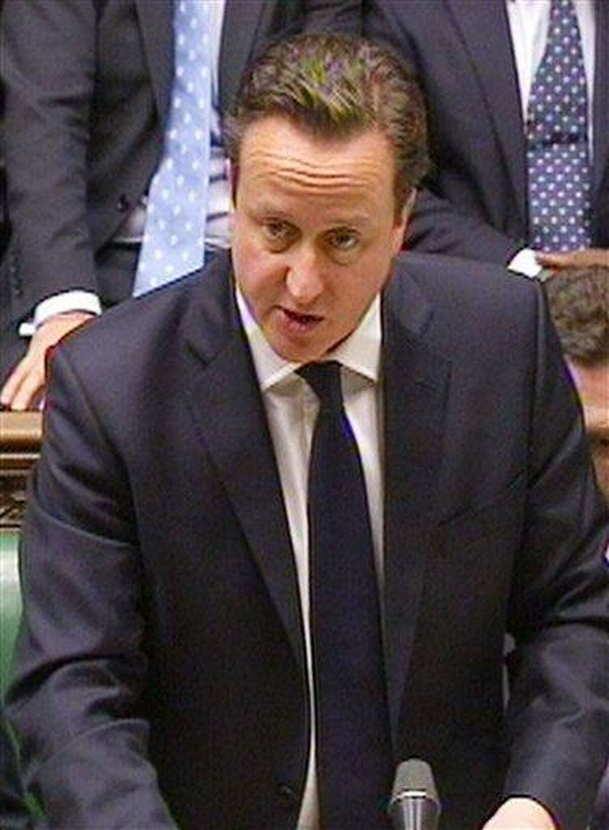 Britain's Prime Minister David Cameron speaking to the House of Commons in London in this image taken from TV Friday , where the prime minister spoke about the kidnap situation in Algeria. AP Photo