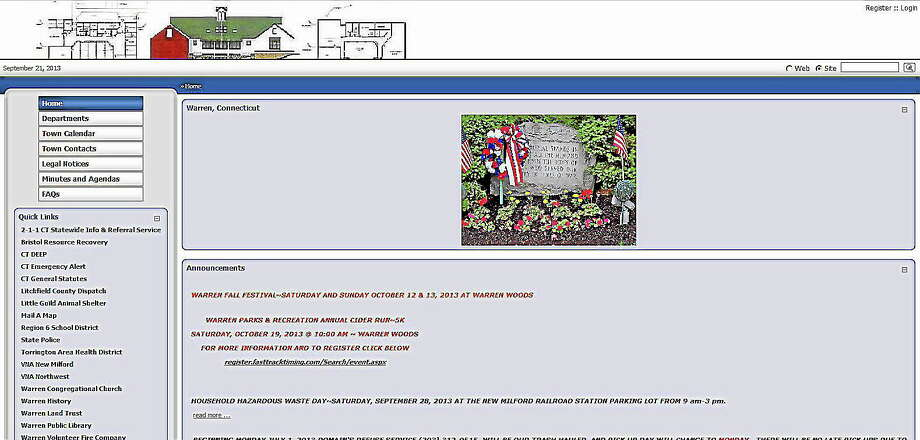 A screenshot of the Warren town website. Photo: Journal Register Co.