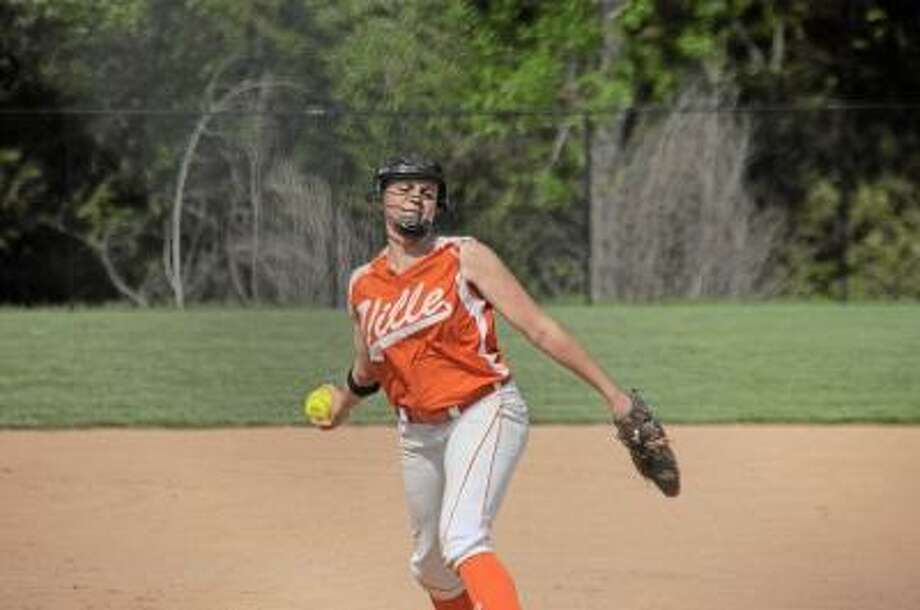 Photo by Sean Meenaghan/Register Citizen  Terryville's Jamie Bridge picks up two victories against Gilbert on Tuesday.