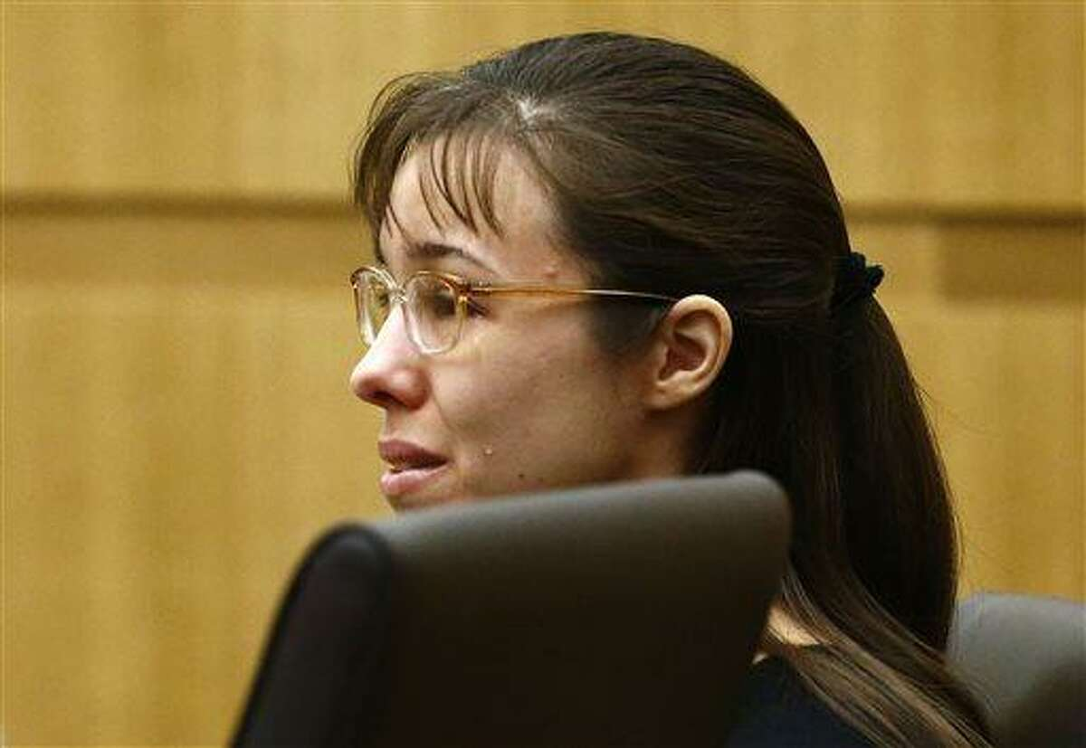 """FILE - Jodi Arias cries as Steven Alexander, brother of murder victim Travis Alexander, makes his """"victim impact statement"""" to the jury in this Thursday, May 16, 2013 file photo, during the penalty phase of the Jodi Arias trial at Maricopa County Superior Court in Phoenix. Arias returns to court Monday May 20, 2013 for the continuation of her trial after being convicted of murder in her lover's killing as jurors consider a life sentence or execution. (AP Photo/The Arizona Republic, Rob Schumacher, File)"""