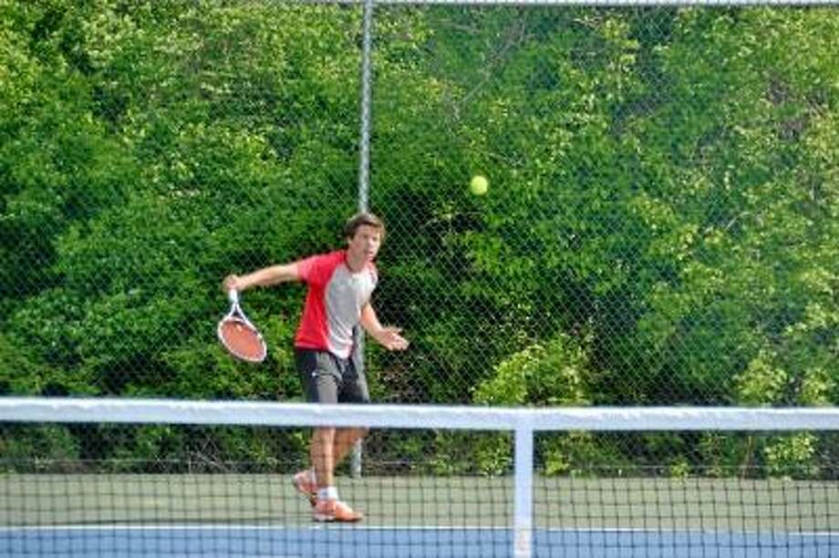 Housatonic's Ferdinand Gelbrich won the Berkshire League singles title by beating teammates Jonathan Miller, 6-0, 6-0. He then defeated Holden Robinson from Lewis Mills by the score of 6-0, 6-1 Photo by Pete Paguaga/Register Citizen