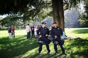 Police officers stand in the crescent at UC Berkeley where a counter protest is supposed to take place in Berkeley, Calif., on Sunday, August 27th, 2017.