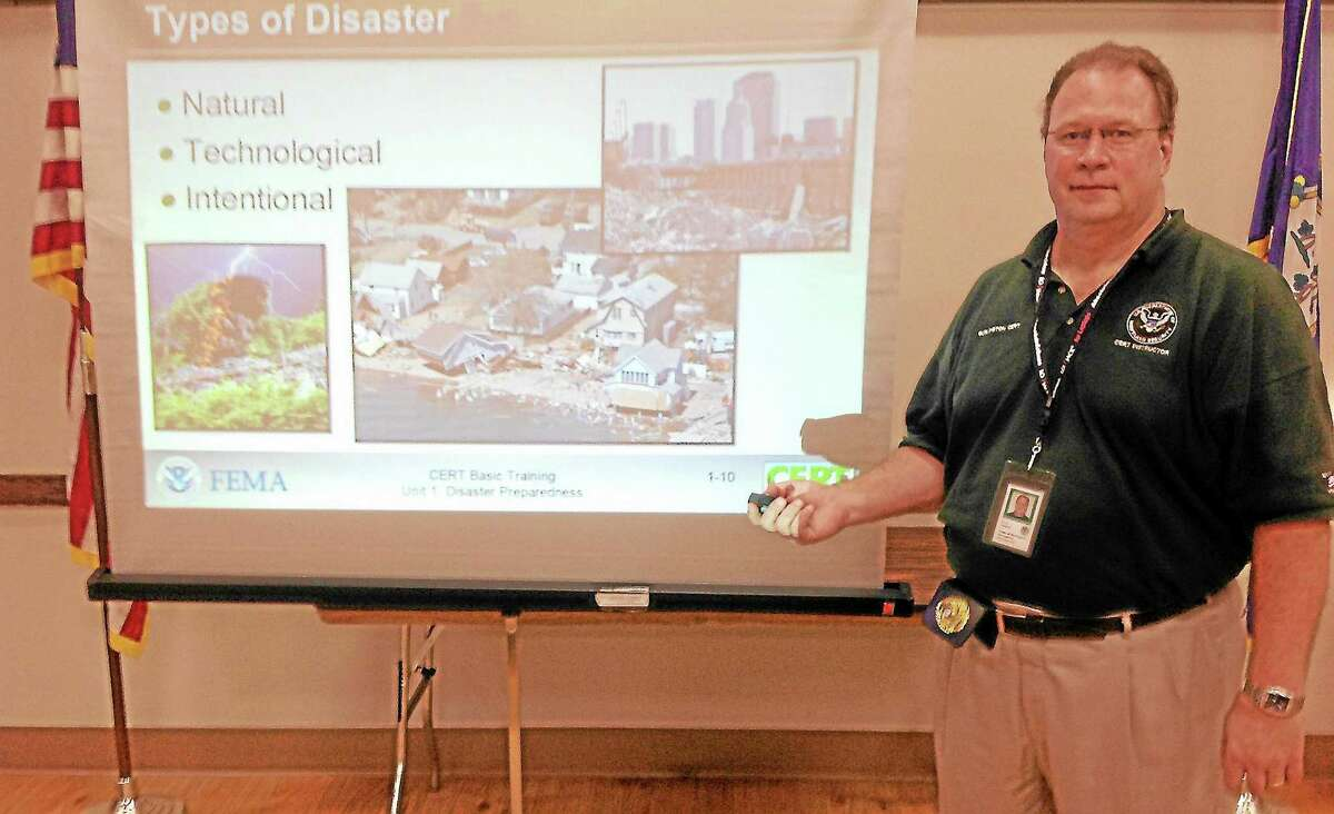 Burlington's Emergency Management Coordinator Rob Roberts during an emergency preparedness meeting Thursday.