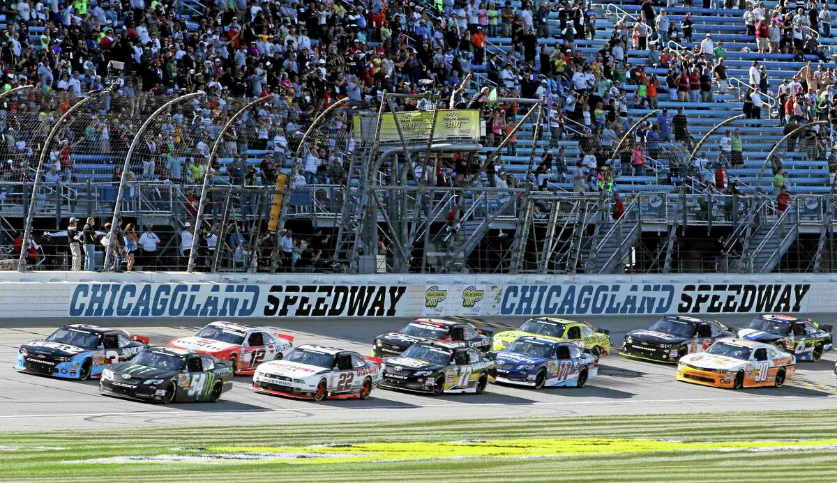 Drivers start the NASCAR Nationwide Series race at Chicagoland Speedway in Joliet, Ill., on Saturday.