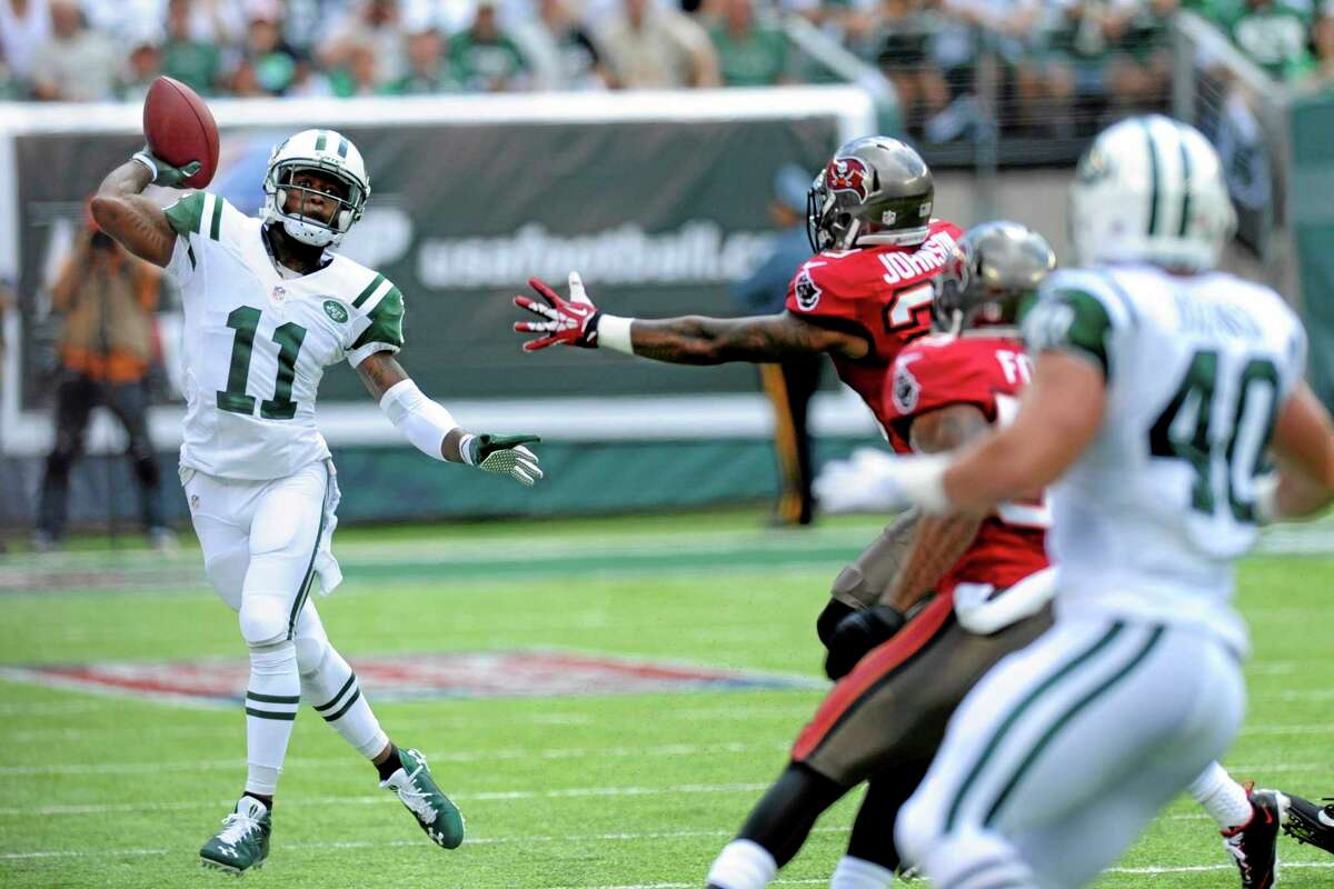Jets wide receiver Jeremy Kerley throws a pass against the Tampa Bay Buccaneers in the first half Sept. 8 in East Rutherford, N.J.