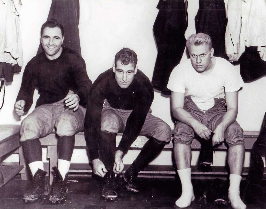 From left, Yale assistant coaches Jim DeAngelis, Ivy Williamson and future President of the United States Gerald Ford. Photo: Photo Courtesy Of Yale Athletics