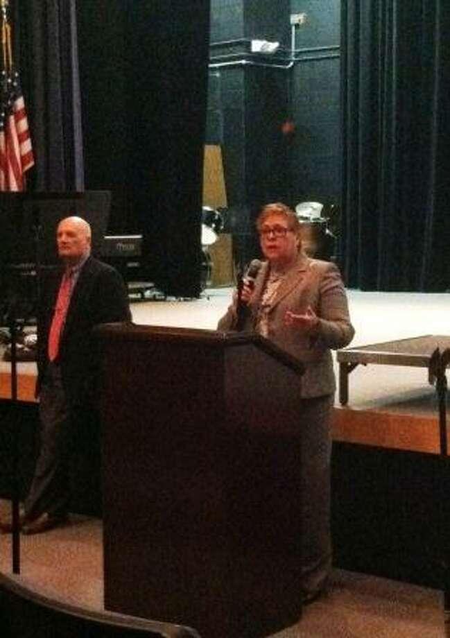 DANIELA FORTE/Register Citizen Litchfield Superintendent of Schools Deborah Wheeler speaks during a community forum on school safety.