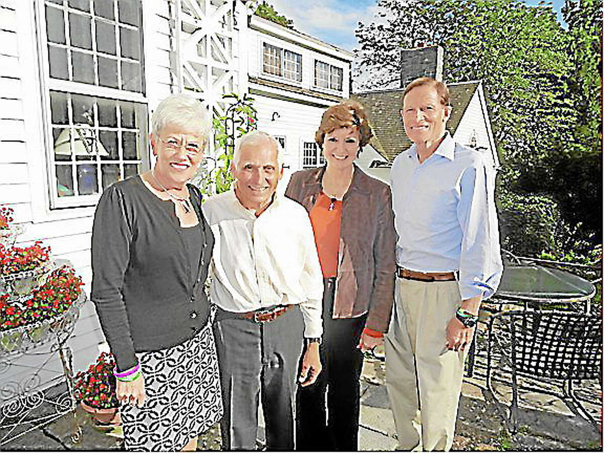 Lt. Gov. Nancy Wyman, Frank Chiaramonte, a former first selectman and current candidate for the position, selectman candidate Nancy Shanley Schuyler and U,S, Sen, Richard Blumenthal at the Sept. 15 Democratic Town Committee fundraiser in Harwinton.