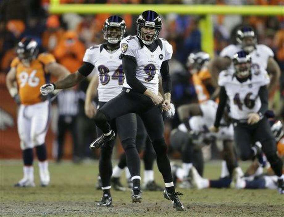 Baltimore Ravens kicker Justin Tucker (9) reacts after hitting the winning field goal against the Denver Broncos in overtime of an AFC divisional playoff NFL football game, Saturday, Jan. 12, 2013, in Denver. The Ravens won 38-35. (AP Photo/Joe Mahoney) Photo: ASSOCIATED PRESS / AP2013