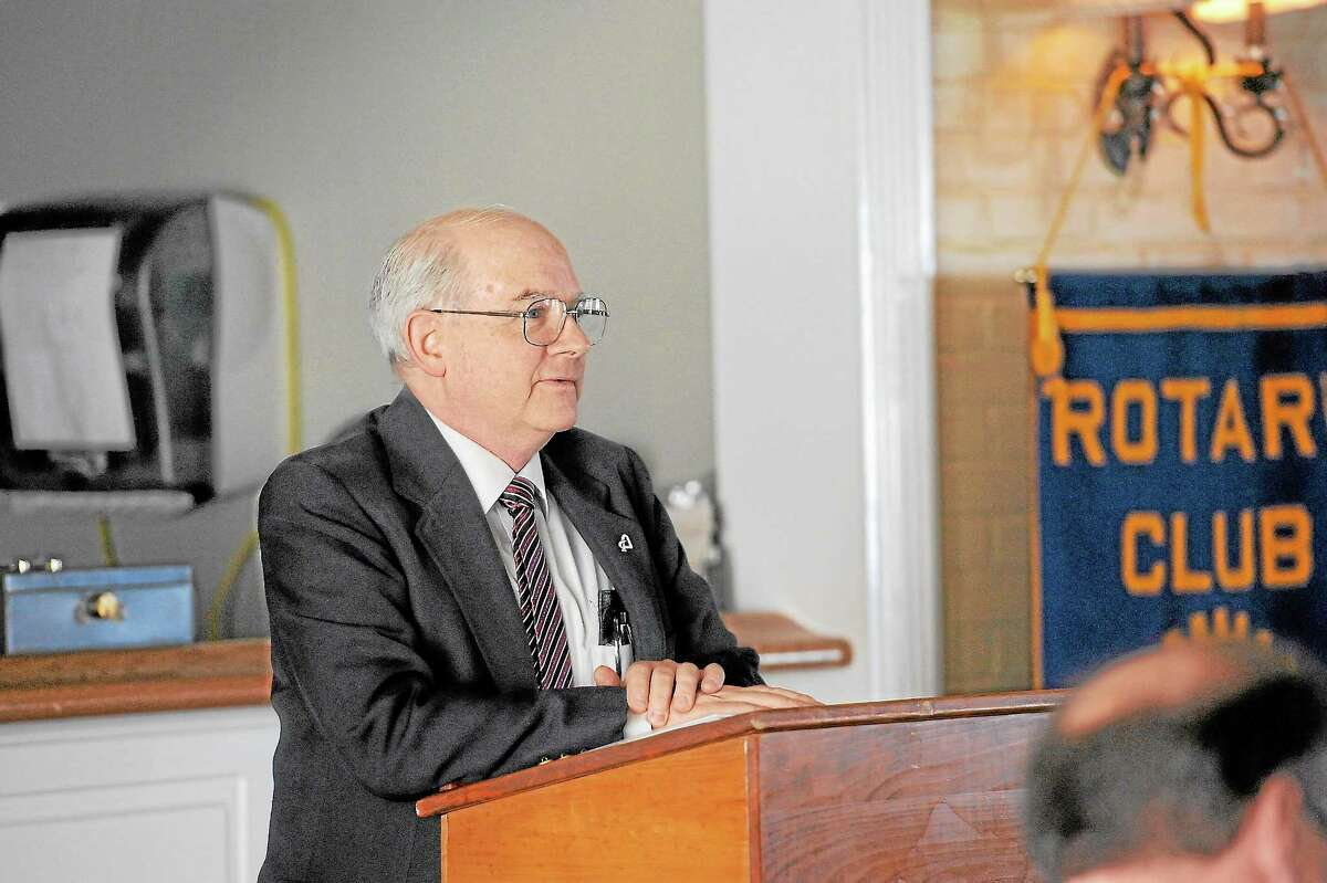 Author Jack Sheedy speaks at a presentation to the Torrington Rotary Club on Tuesday.Laurie Gaboardi - Register Citizen