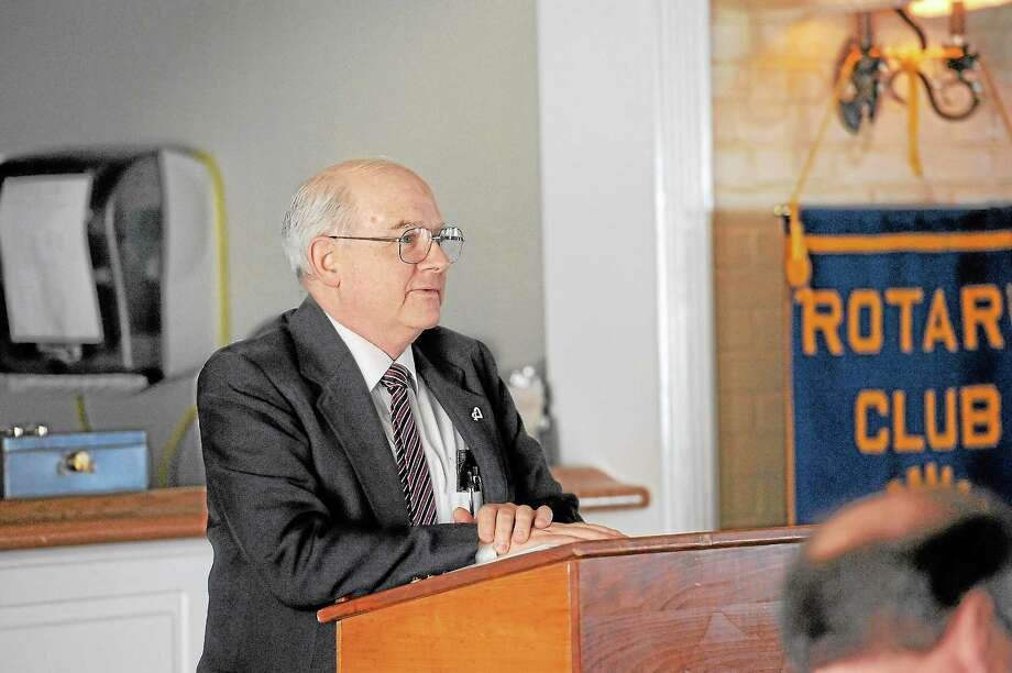 Author Jack Sheedy speaks at a presentation to the Torrington Rotary Club on Tuesday.Laurie Gaboardi - Register Citizen Photo: Journal Register Co.
