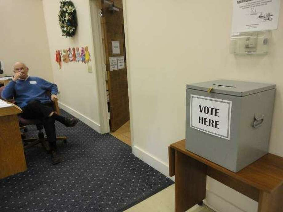 A ballot box awaits votes during Thursday's referendum in Winsted.