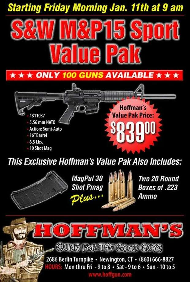Hoffman's Gun Center & Indoor Shooting Range in Newington posted this advertisement on their Facebook page Wednesday.