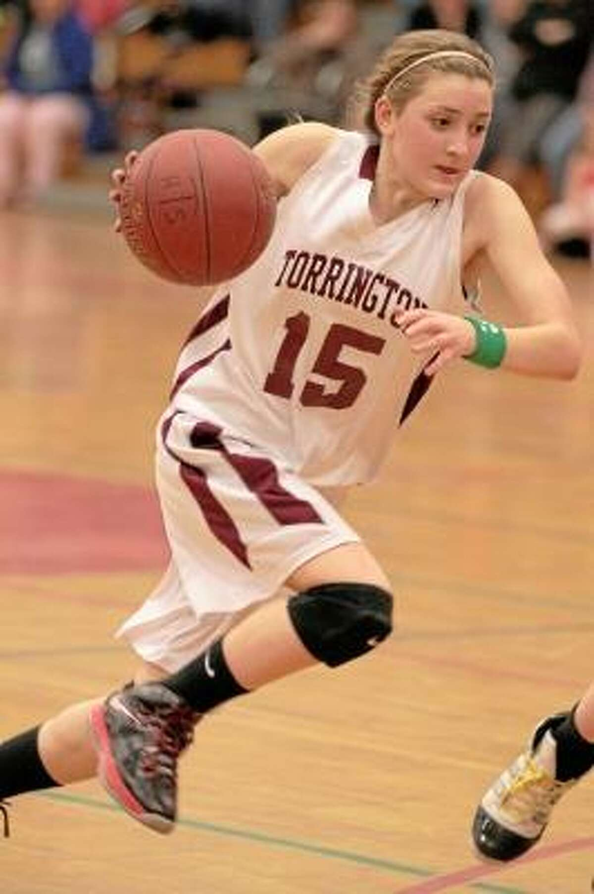 Caroline Teti takes a jump shot in Torrington's win over Watertown Friday night. Photo by Marianne Killackey/Special to Register Citizen