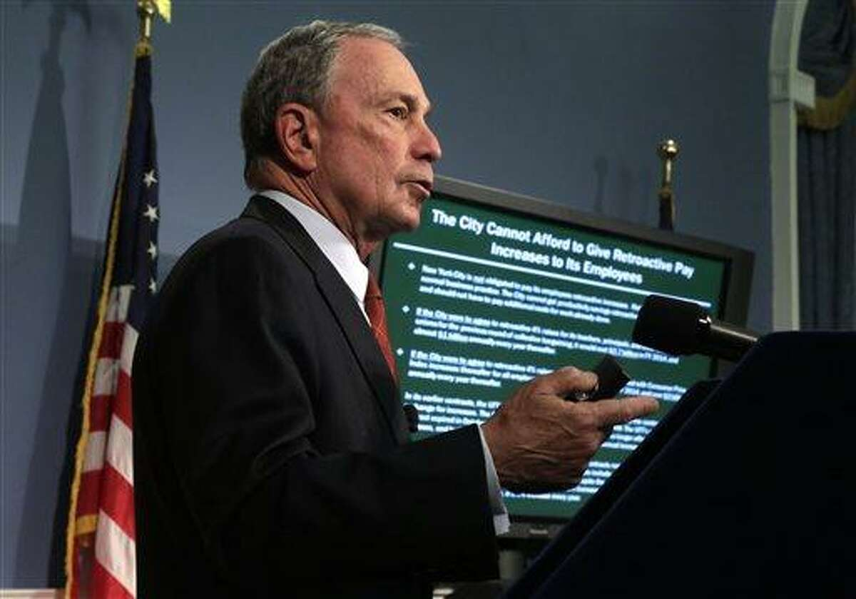 New York Mayor Michael Bloomberg delivers the 2014 city budget in the Blue Room of New York's City Hall, Thursday, May 2, 2013. Bloomberg presented the budget for the fiscal year of 2014, the last one of his tenure. The presentation is just the beginning of a long negotiation process with the City Council and other stakeholders.(AP Photo/Richard Drew, Pool)
