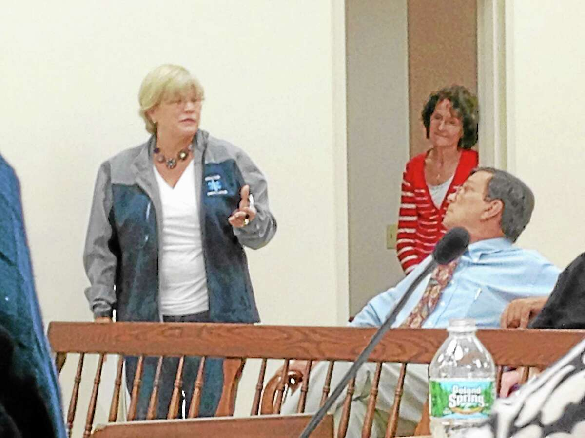 Debbie Angell, of the Winsted Area Ambulance Association, speaks during a Board of Selectmen meeting in Winsted Monday.