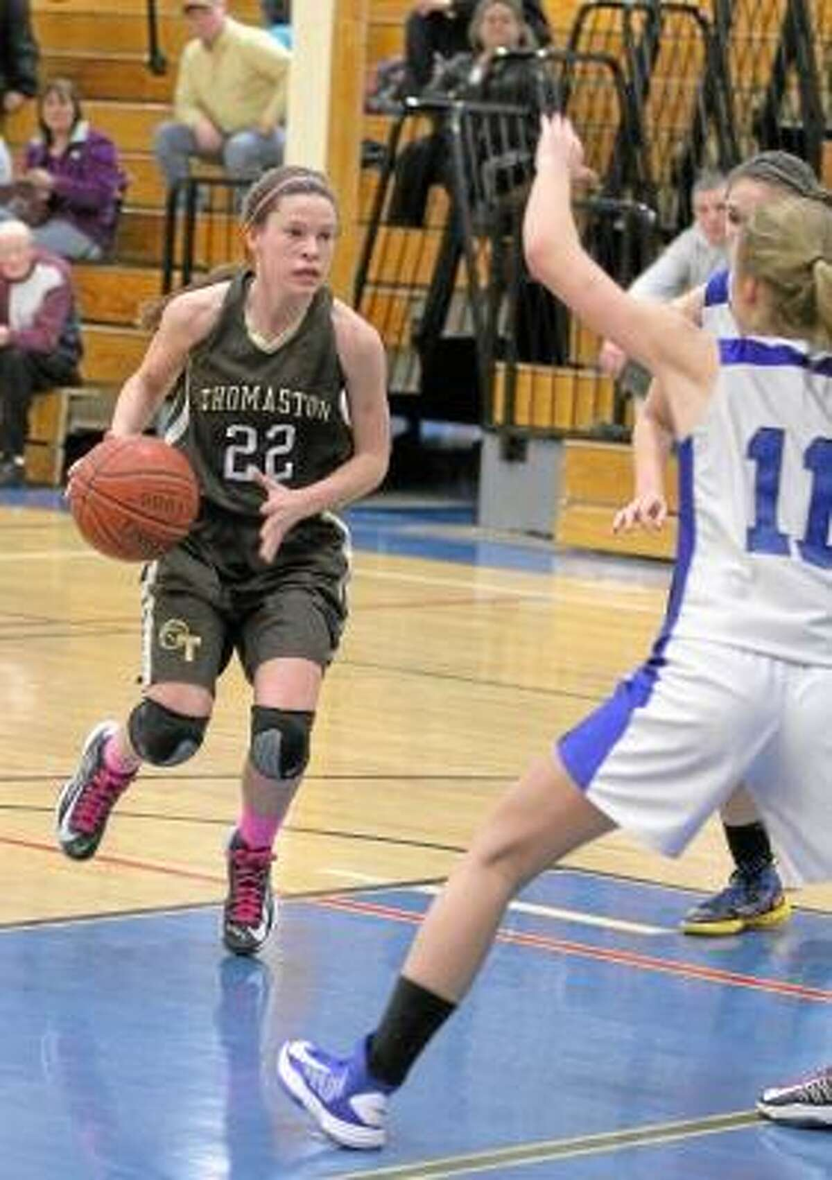 Thomaston's Maggie Eberhardt (22) looks to take a shot during her team's win over Lewis Mills Wednesday night. Photo by Marianne Killackey/Special to Register Citizen