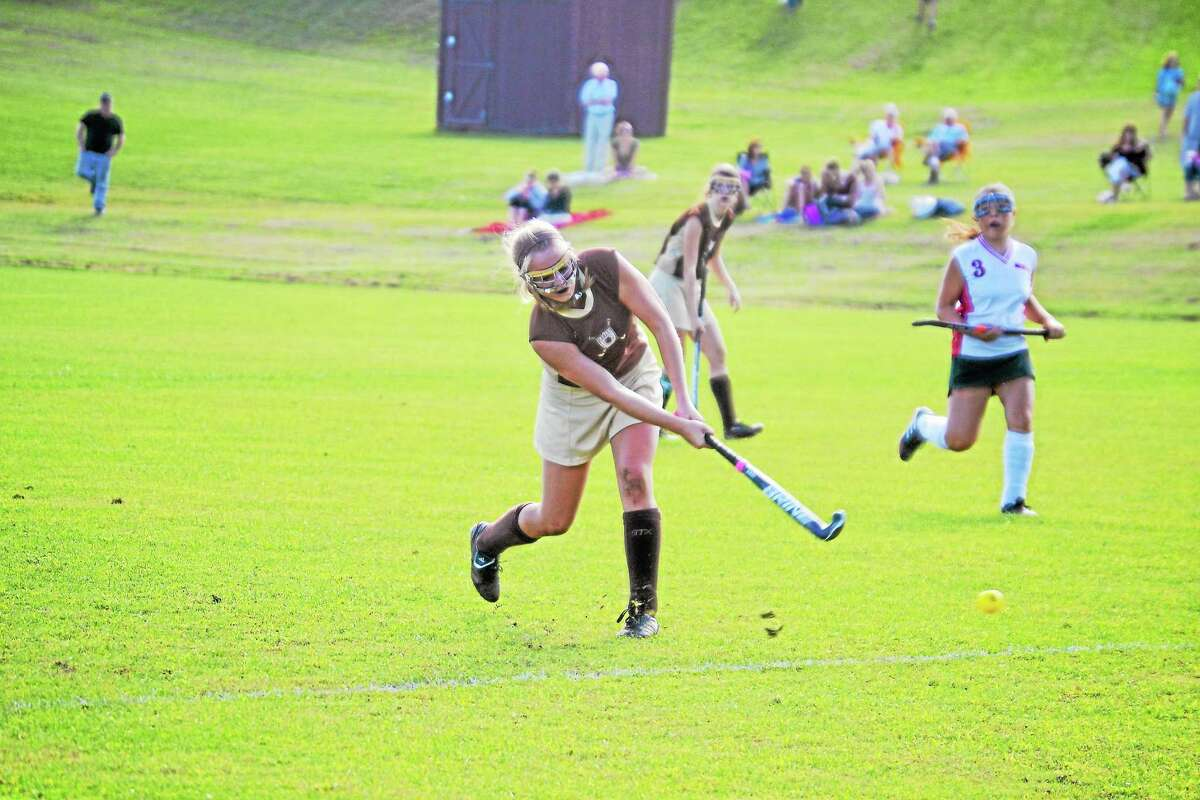 Thomaston's Abby Hurlbert's shoots on the net, her shot was deflected by Morgan Sanson and into the net for the only goal of the game.