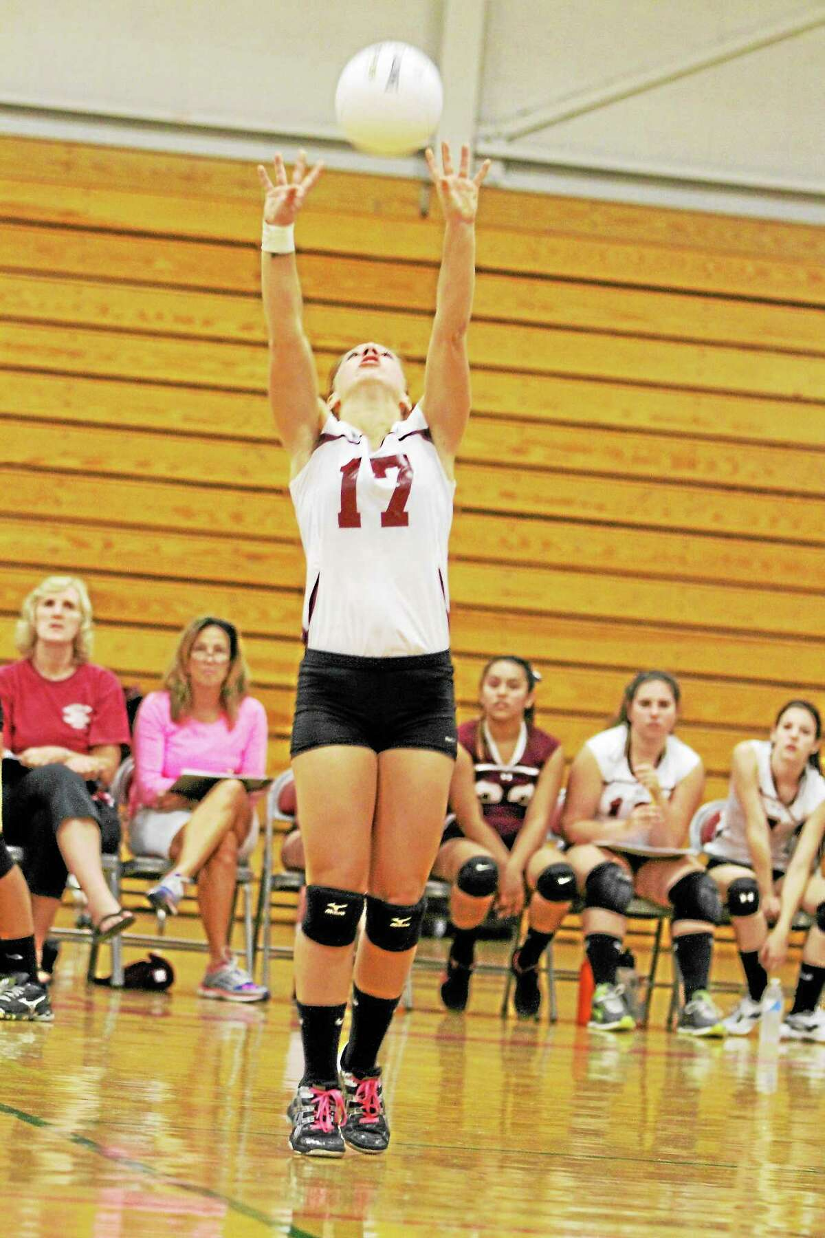 Kiley Rosengrant sets the ball to her teammates. Rosengrant had 34 assists and nine digs in Torrington win.