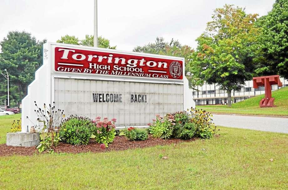The entrance to Torrington High School as seen on Sept. 12, 2013. Photo: Tom Caprood—Register Citizen
