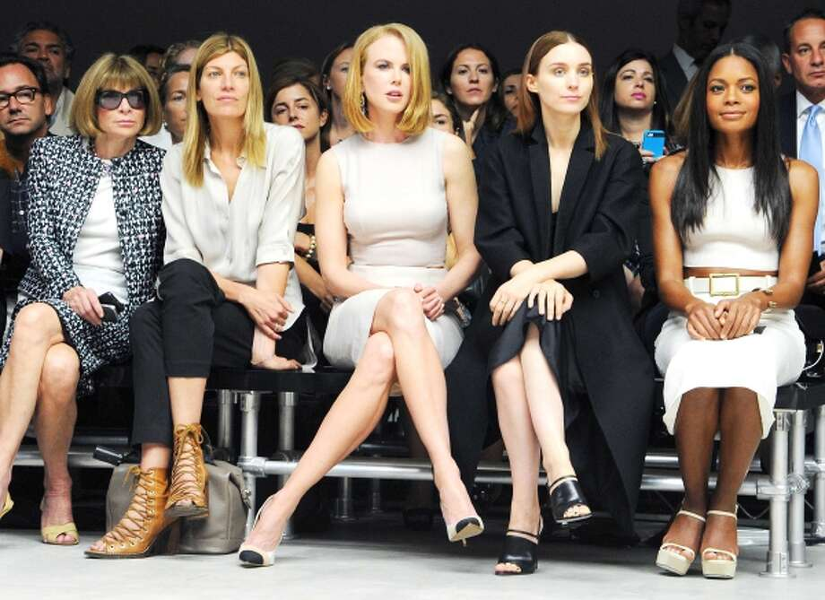 This image released by Calvin Klein Collection shows, from left, Anna Wintour, Virginia Smith, Nicole Kidman, Rooney Mara, and Naomie Harris at the Calvin Klein Spring 2014 collection during Fashion Week in New York on Thursday, Sept. 12, 2013. (AP Photo/Calvin Klein Collection, Billy Farrell) Photo: AP / AP2013