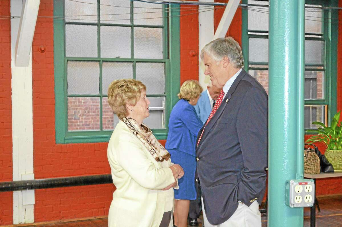 87th Connecticut Governor M. Jodi Rell speaks with her former commission of agriculture Phillip Prelli, who is a former Winchester Republican Town Committee chairman.