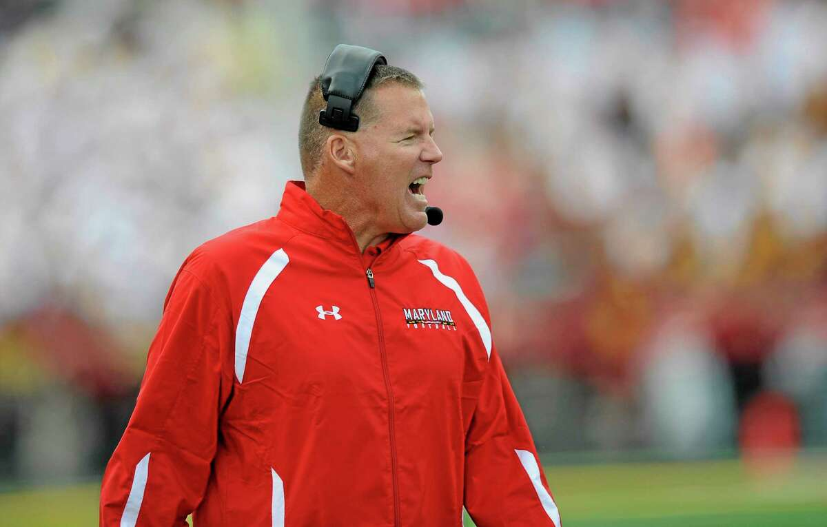Maryland head coach Randy Edsall yells during the first half of a game.