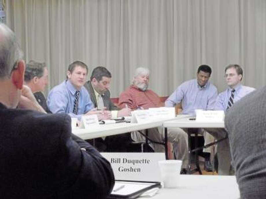 SARAH BOGUES/Register Citizen State aid was a topic of discussion as state leaders met with municipalities in Litchfield.