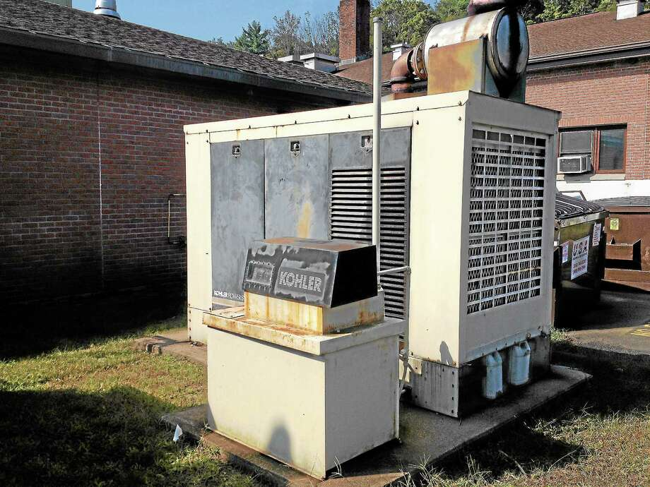 The generator at Barkhamsted Elementary School is one of five set to be replaced by November using a STEAP grant. Photo: Kate Hartman—Register Citizen
