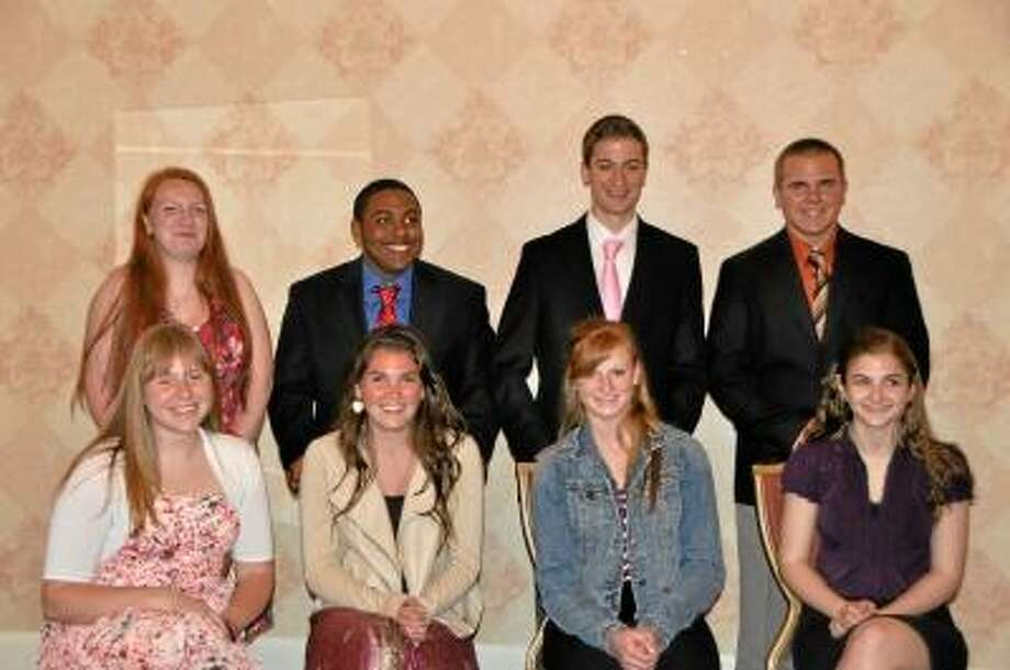 Several recipients of the Youth Service Award handed out on Wednesday night at the Elk Lodge in Torrington. Pictured in the photo, back row left to right: Hannah O'Hazo, Sinclair Bush, Matt Disorbo and Seth Kellogg. In the front row, left to right: Emily Breakell, Angie O'donnell, Hannah Doyle and Alley Tully. The students represented the town of Harwinton, and more than 20 other students were honored. (SUBMITTED PHOTO/Louise O'Donnell)