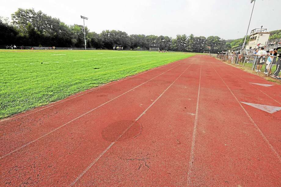 The track and field at Torrington High School. Photo: Laurie Gaboardi—Register Citizen