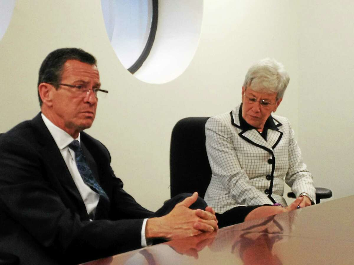Gov. Dannel P. Malloy and Lt. Gov. Nancy Wyman meet with the New Haven Register editorial board.