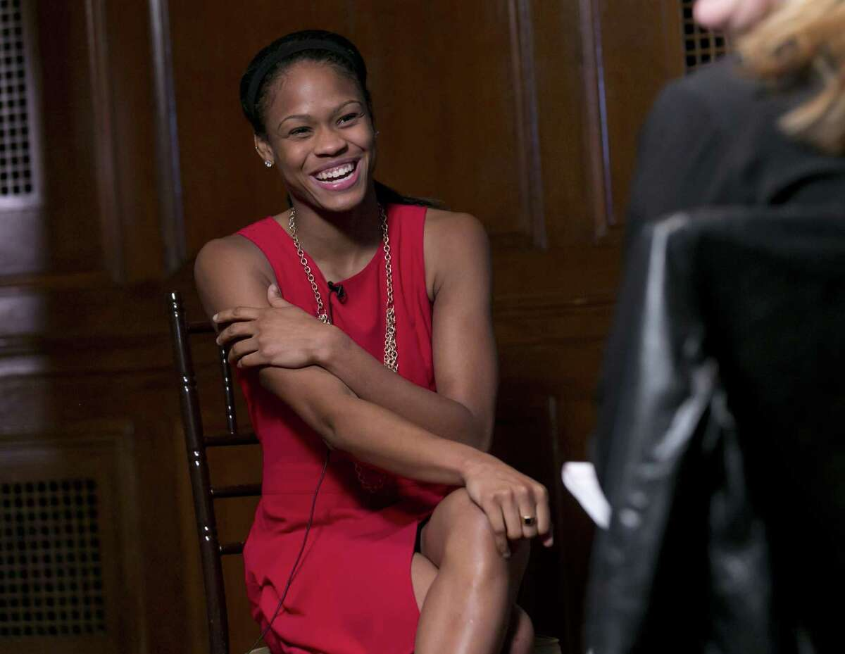 UConn junior guard Moriah Jefferson is interviewed during the American Athletic Conference women's basketball media day on Thursday in New York.