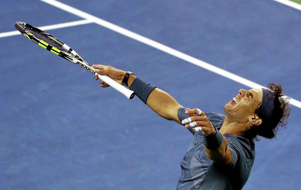 Rafael Nadal reacts after defeating Novak Djokovic during the men's singles final of the U.S. Open on Monday.