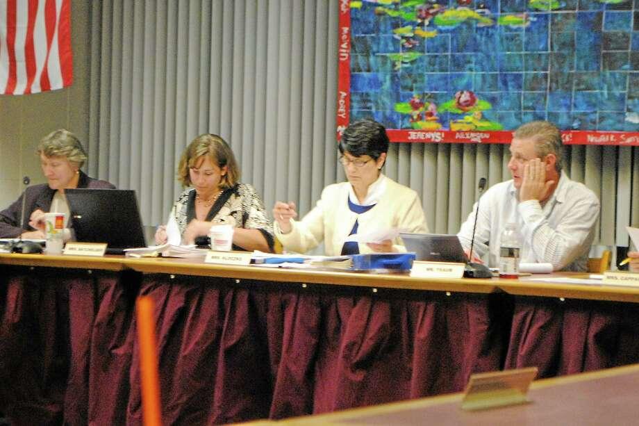 Superintendent of Schools Cheryl Kloczko (middle left) and Board of Education Chairman Ken Traub at a Board of Education meeting. Photo: File Photo — Register Citizen